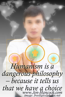 Humanism is a choice - man pushing a button