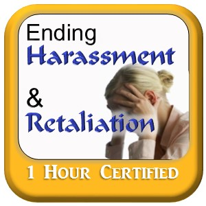 Woman looking stressed - Ending Harassment & Retaliation course graphic