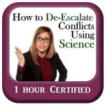 How to de-escalate - course logo - woman looking upset